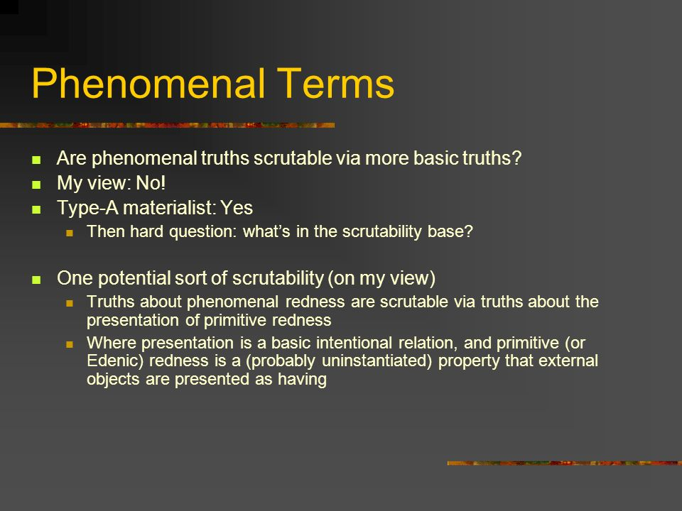 Phenomenal Terms Are phenomenal truths scrutable via more basic truths My view: No! Type-A materialist: Yes.