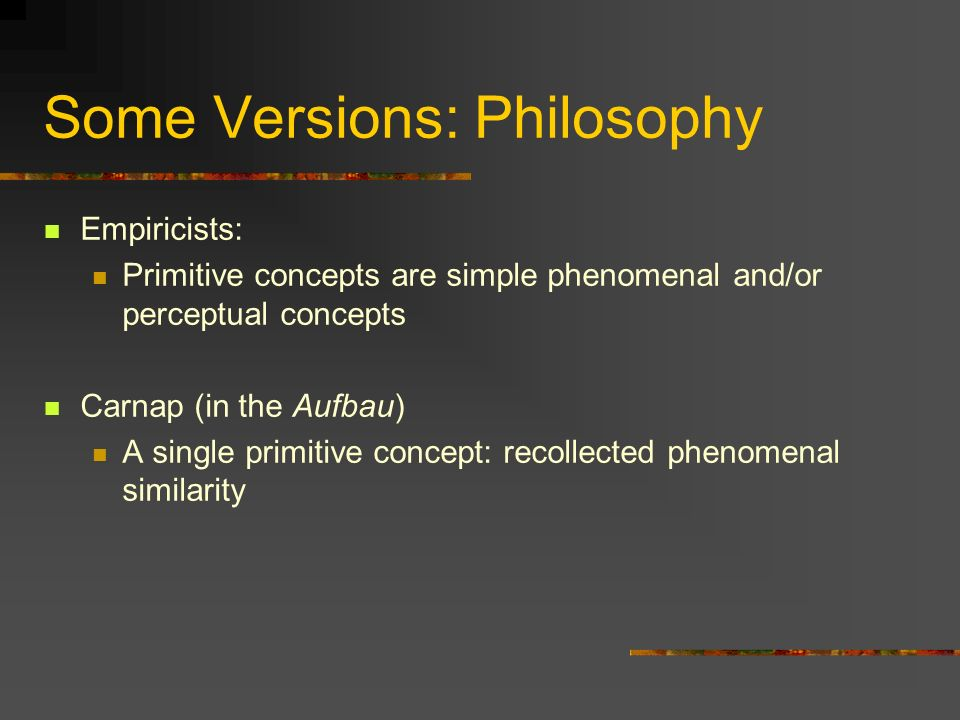 Some Versions: Philosophy