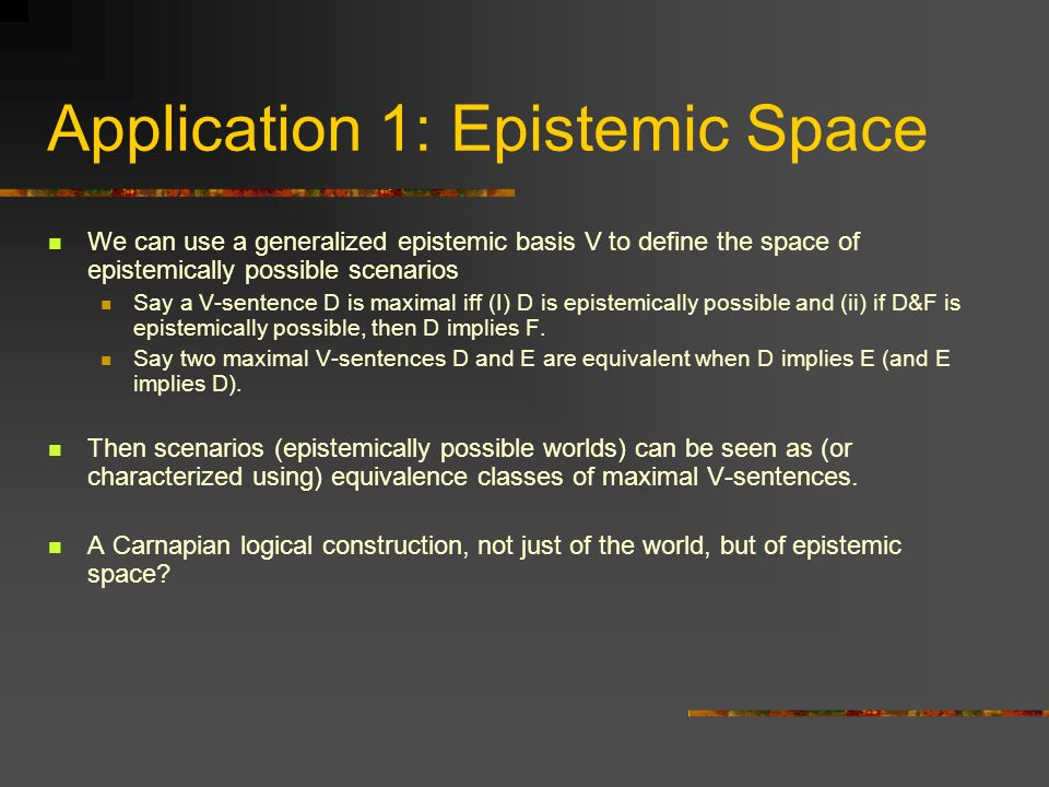 Application 1: Epistemic Space
