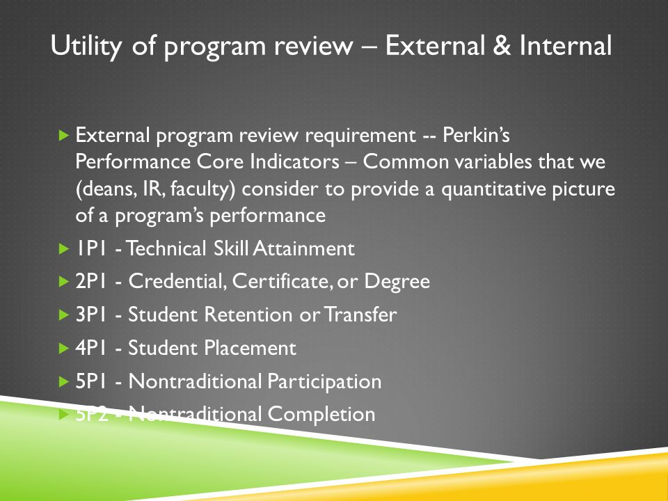 Utility of program review – External & Internal