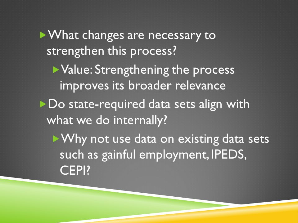 What changes are necessary to strengthen this process