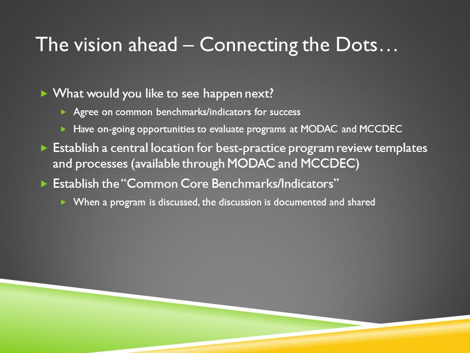 The vision ahead – Connecting the Dots…