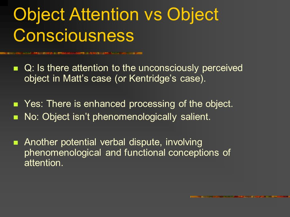 Object Attention vs Object Consciousness