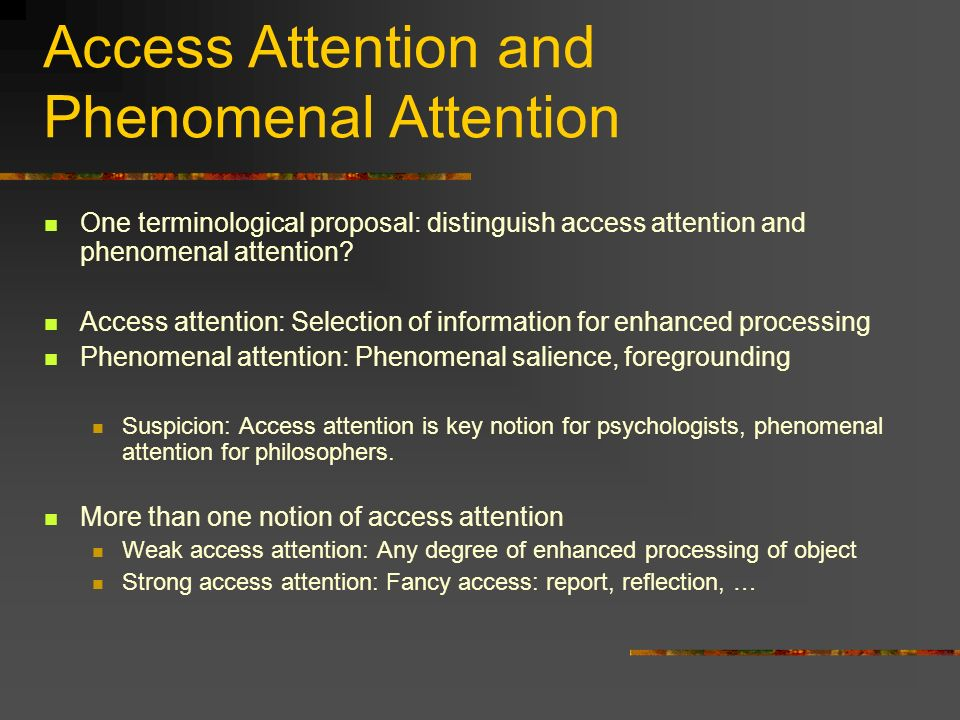 Access Attention and Phenomenal Attention