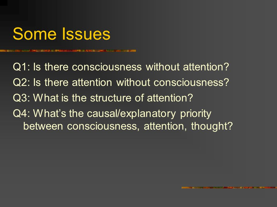 Some Issues Q1: Is there consciousness without attention