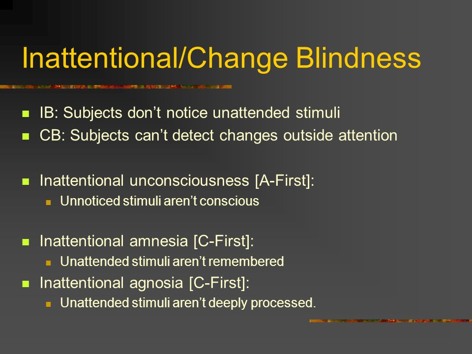 Inattentional/Change Blindness