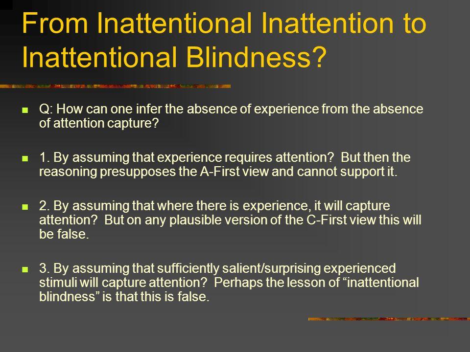 From Inattentional Inattention to Inattentional Blindness