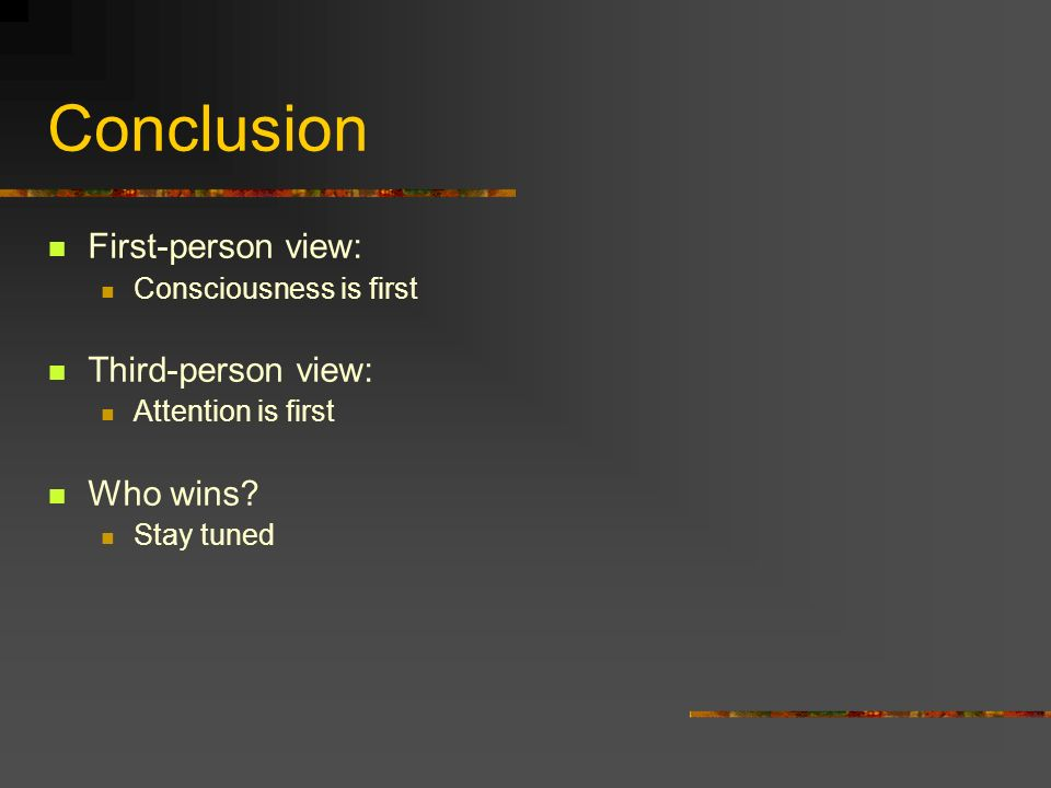 Conclusion First-person view: Third-person view: Who wins