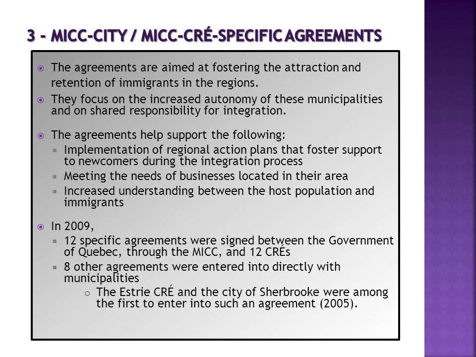 3 - MICC-city / MICC-CRÉ-SPECIFIC AGREEMENTS