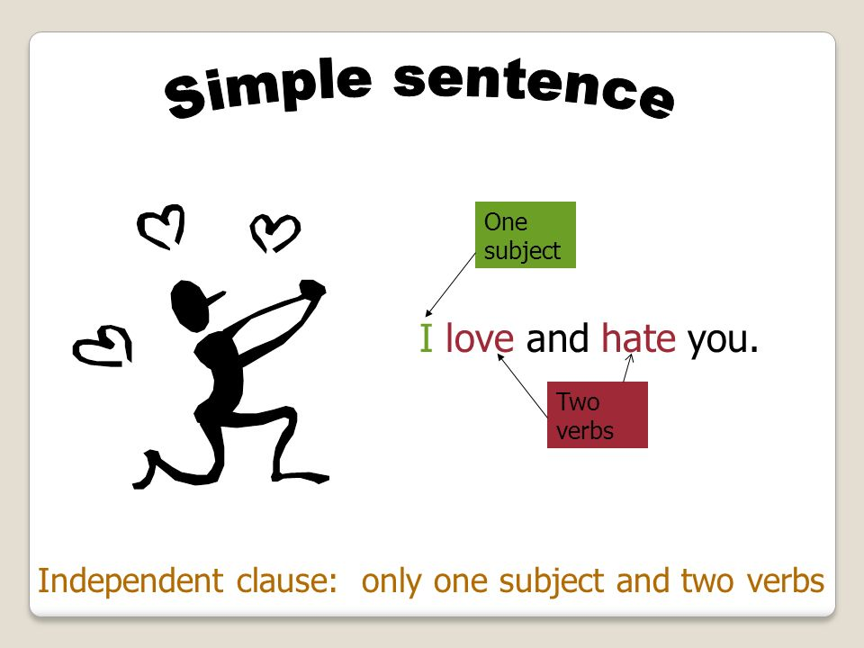 I love and hate you. Simple sentence
