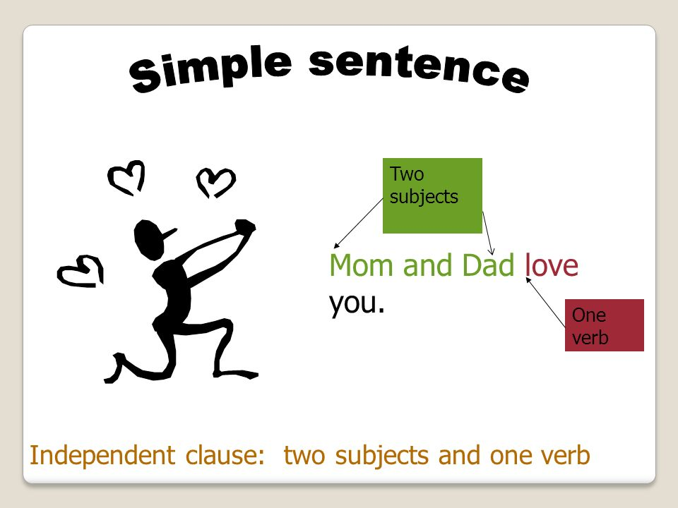 Mom and Dad love you. Simple sentence