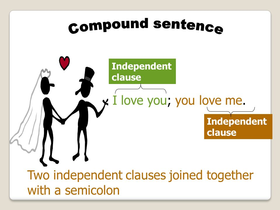 Two independent clauses joined together with a semicolon