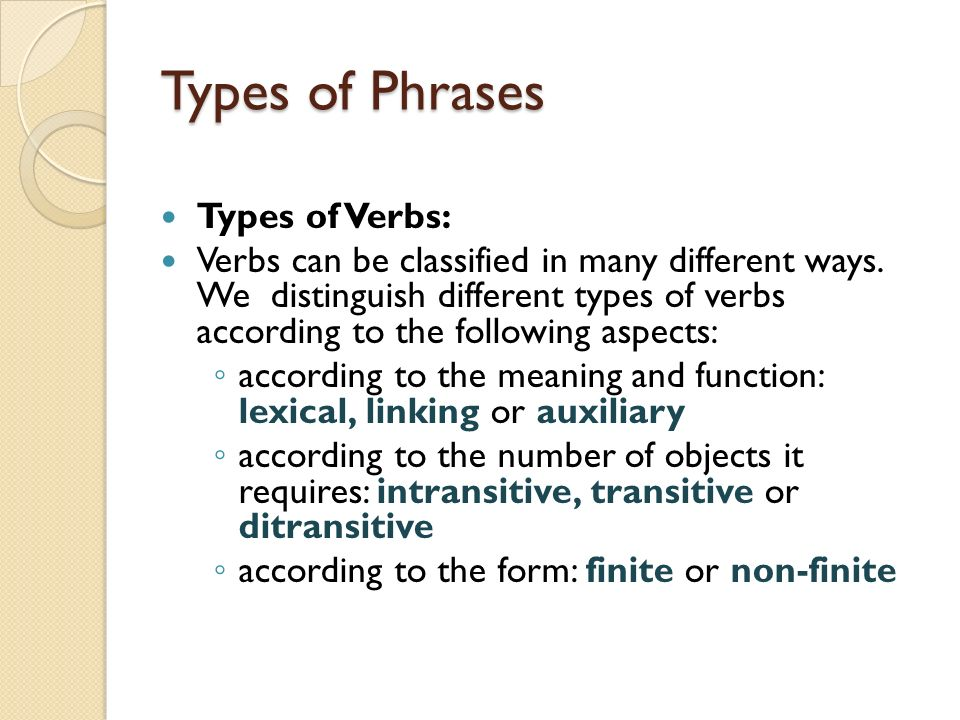 the non finite forms of the verb Some forms of a verb are referred to as non-finite the present and past participles and the to infinitive are the most common of these the base form is often used in a non-finite way.
