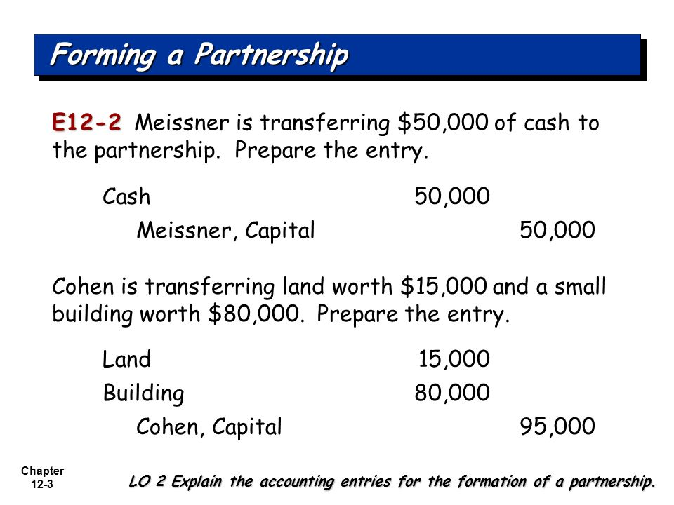 Forming a Partnership E12-2 Meissner is transferring $50,000 of cash to the partnership. Prepare the entry.
