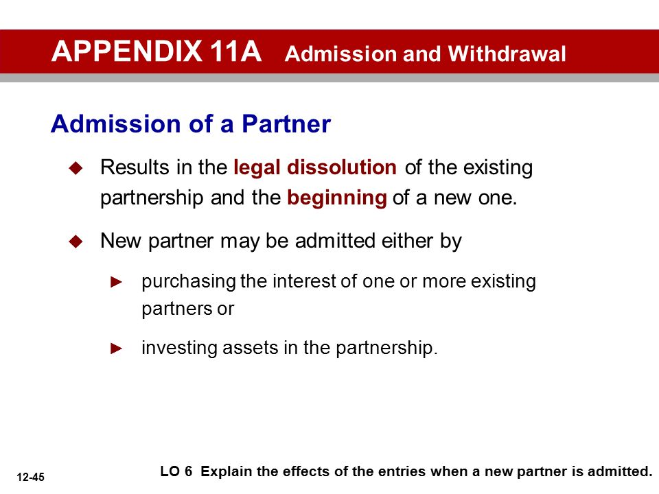 APPENDIX 11A Admission and Withdrawal