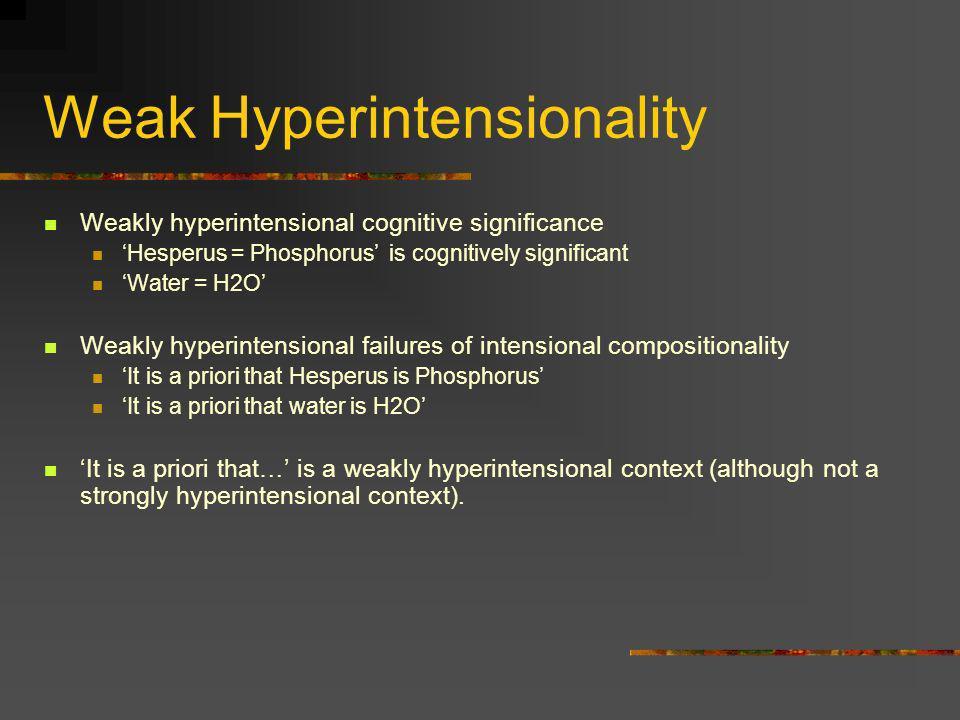 Weak Hyperintensionality