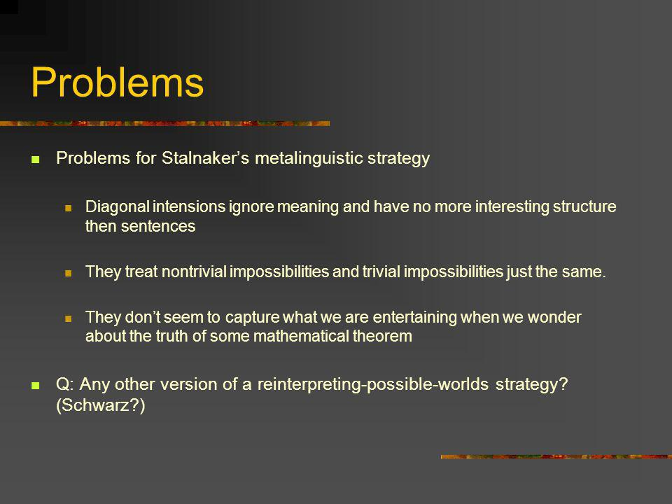 Problems Problems for Stalnaker's metalinguistic strategy