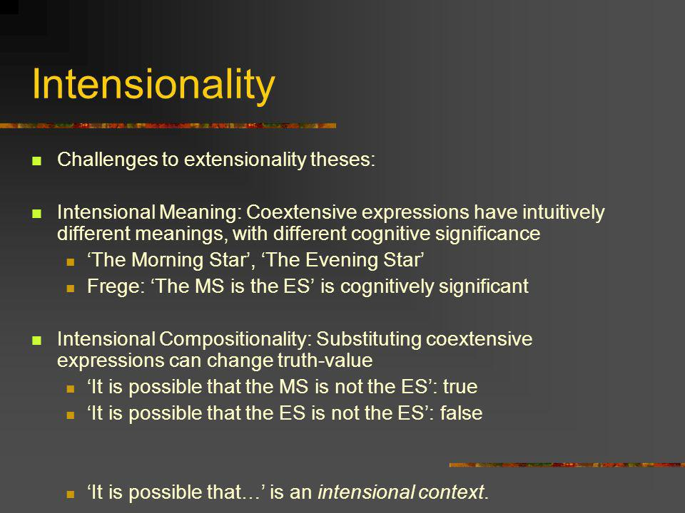 Intensionality Challenges to extensionality theses: