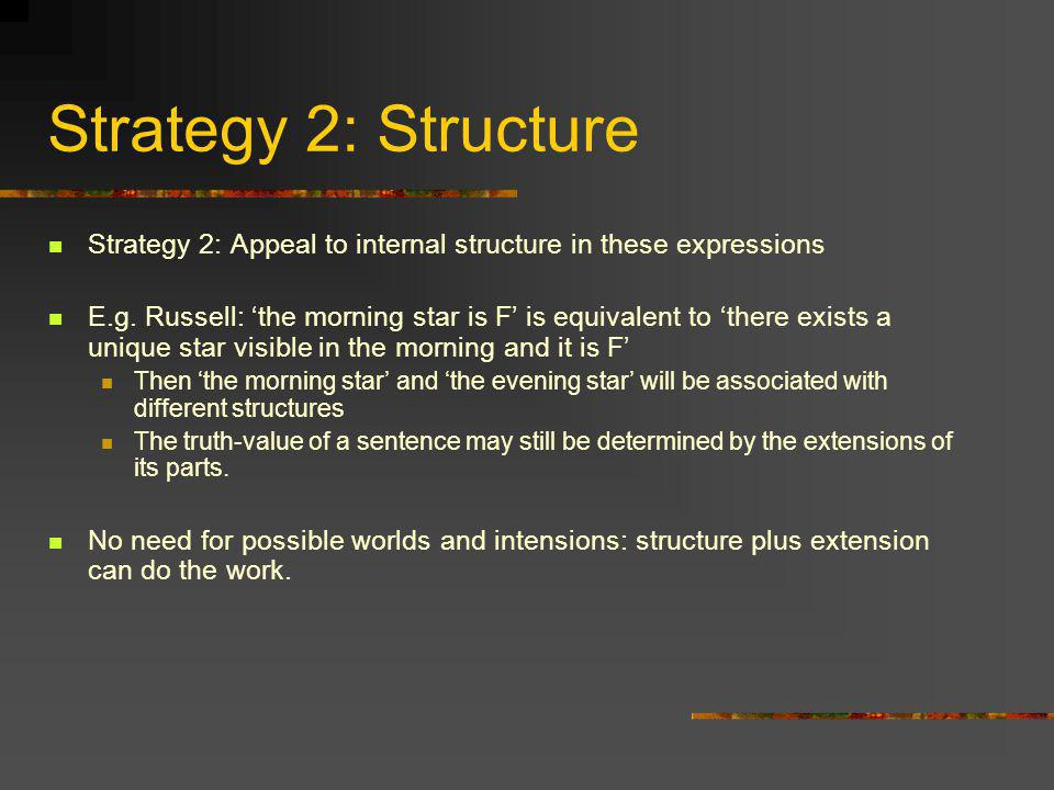 Strategy 2: Structure Strategy 2: Appeal to internal structure in these expressions.
