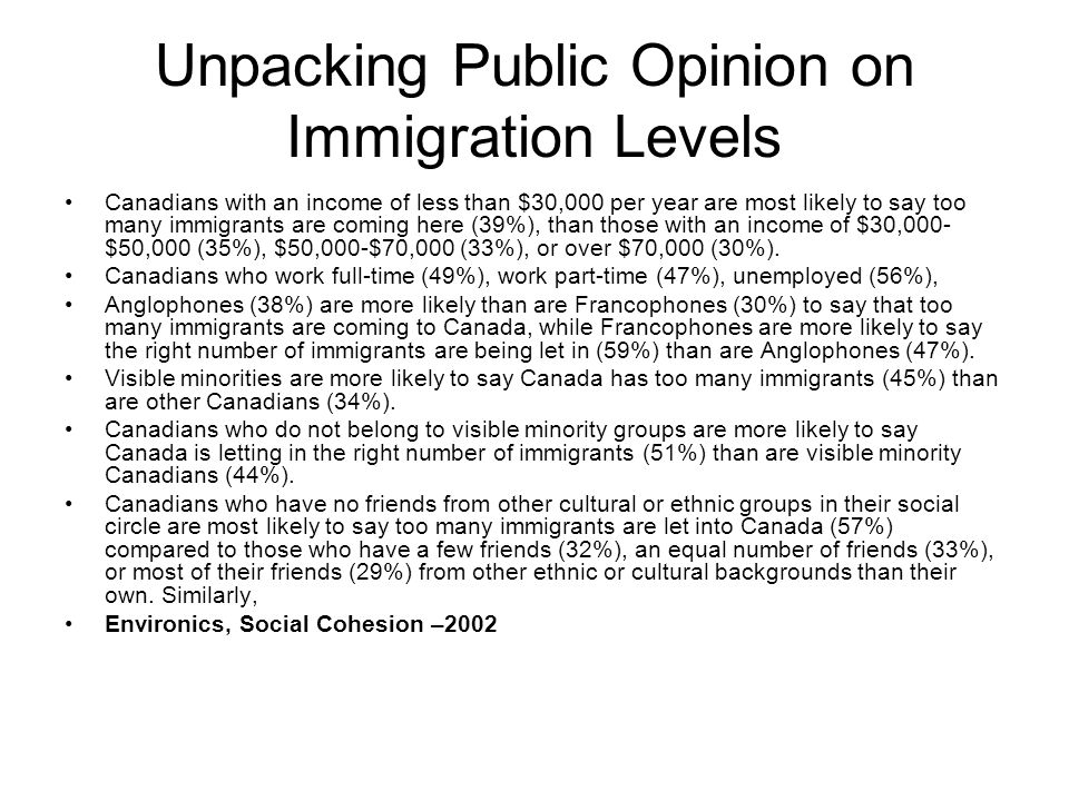 Unpacking Public Opinion on Immigration Levels