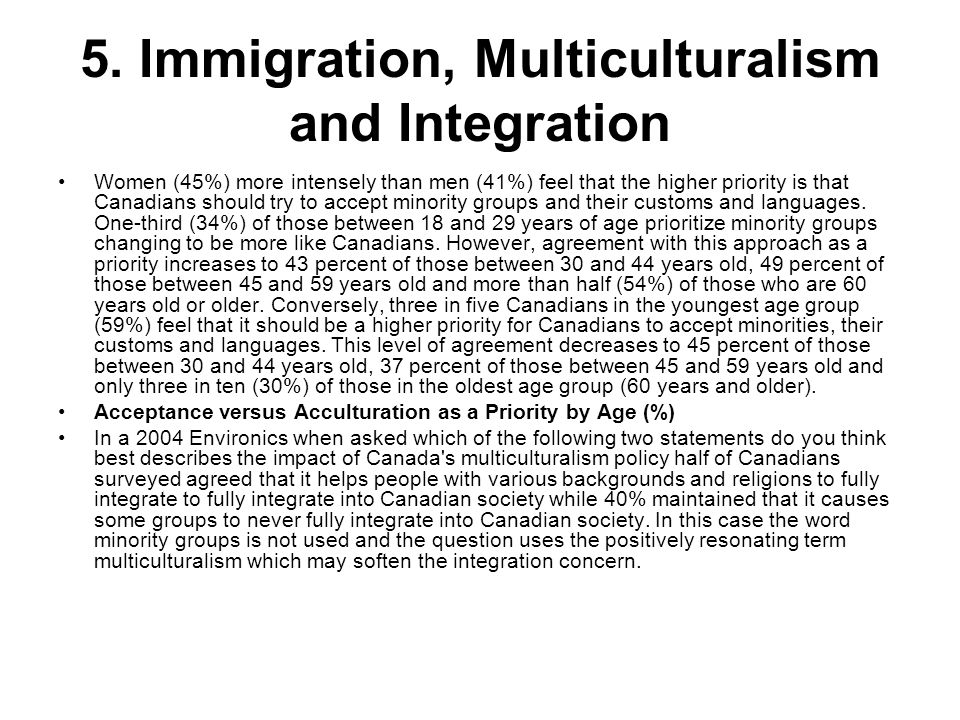5. Immigration, Multiculturalism and Integration