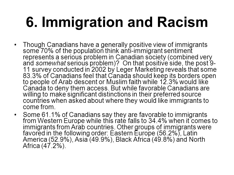 6. Immigration and Racism