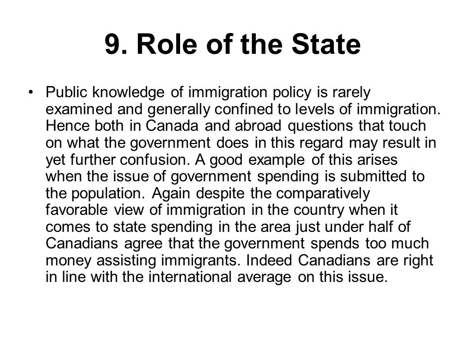 9. Role of the State