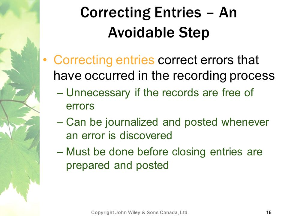 Correcting Entries – An Avoidable Step