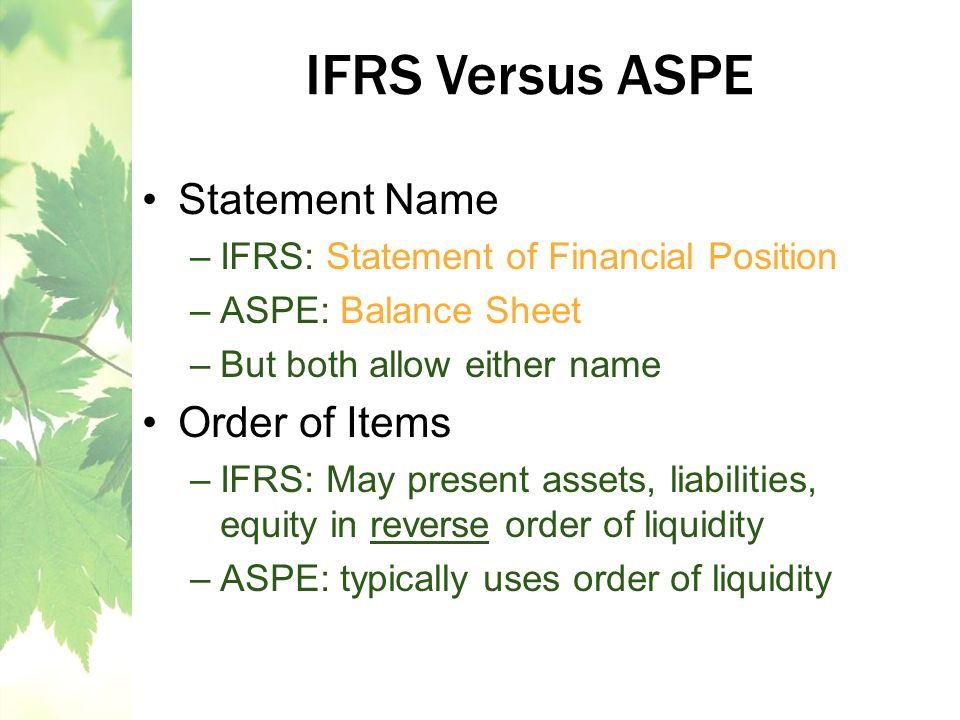 IFRS Versus ASPE Statement Name Order of Items