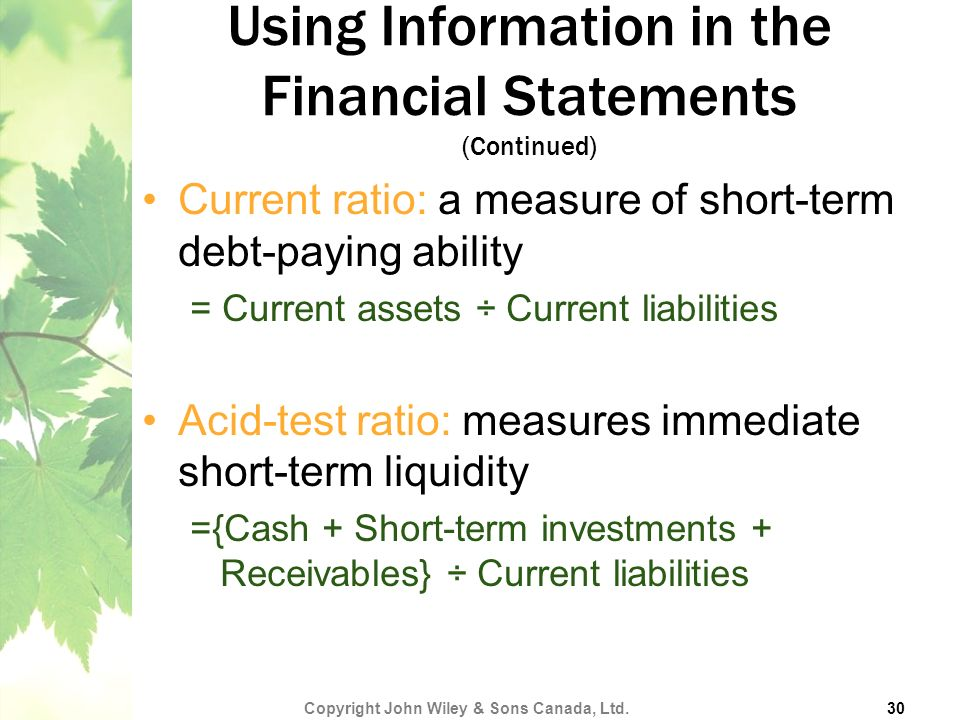 Using Information in the Financial Statements (Continued)