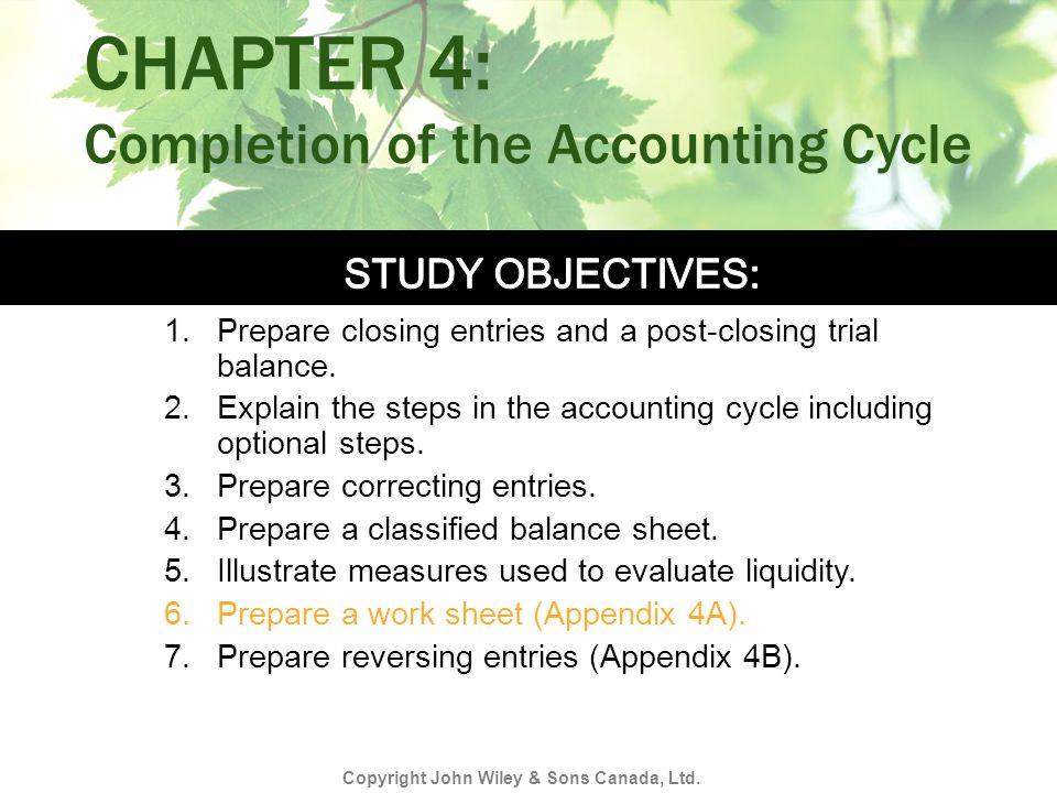 CHAPTER 4: Completion of the Accounting Cycle