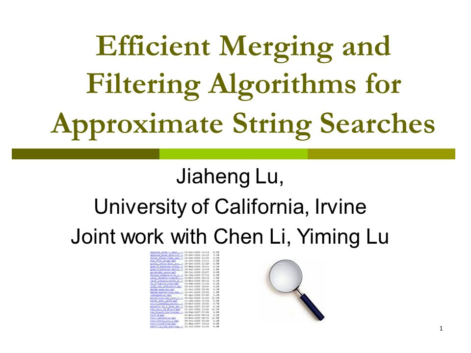 Efficient Merging and Filtering Algorithms for Approximate String Searches
