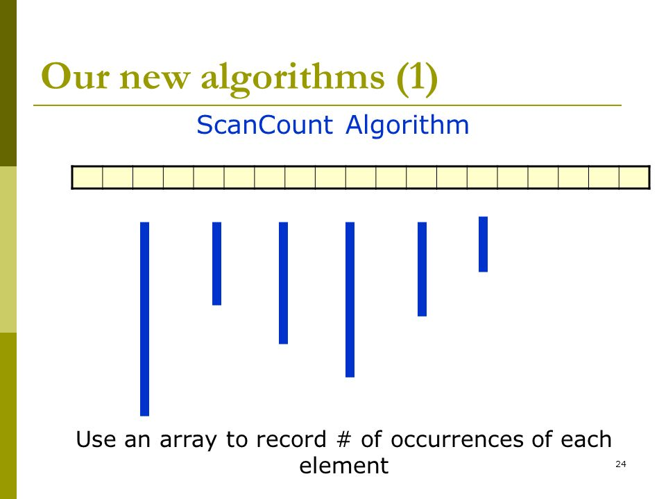Use an array to record # of occurrences of each element