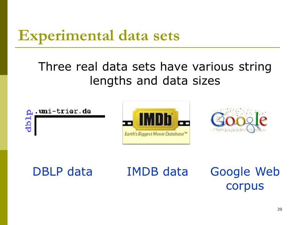 Experimental data sets