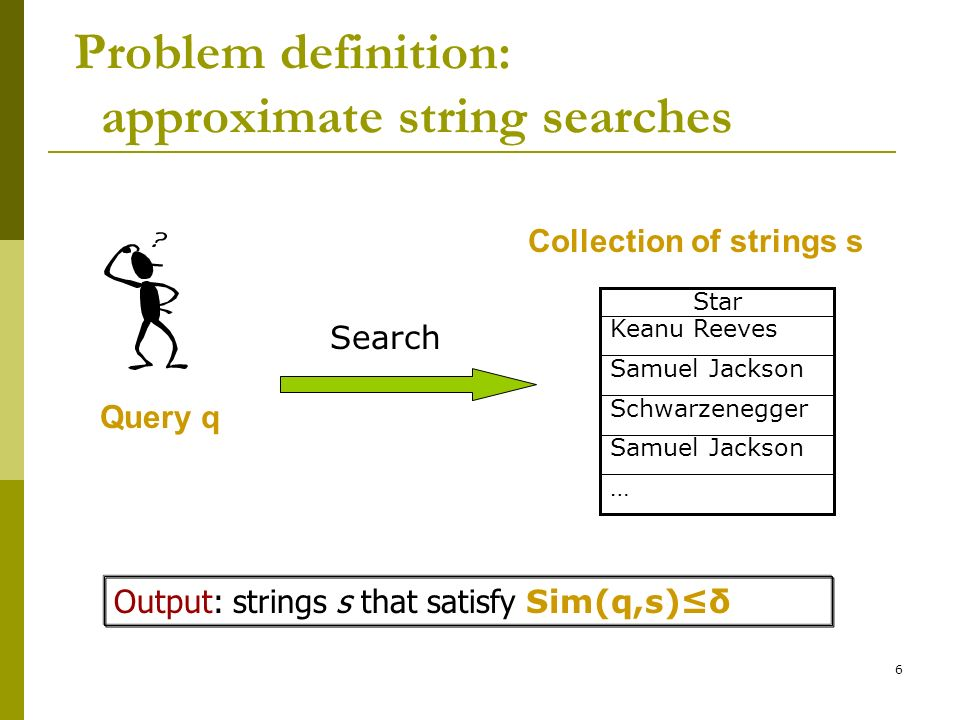 Problem definition: approximate string searches