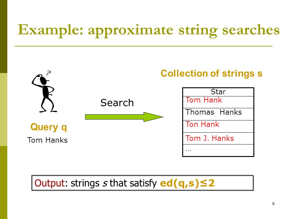 Example: approximate string searches