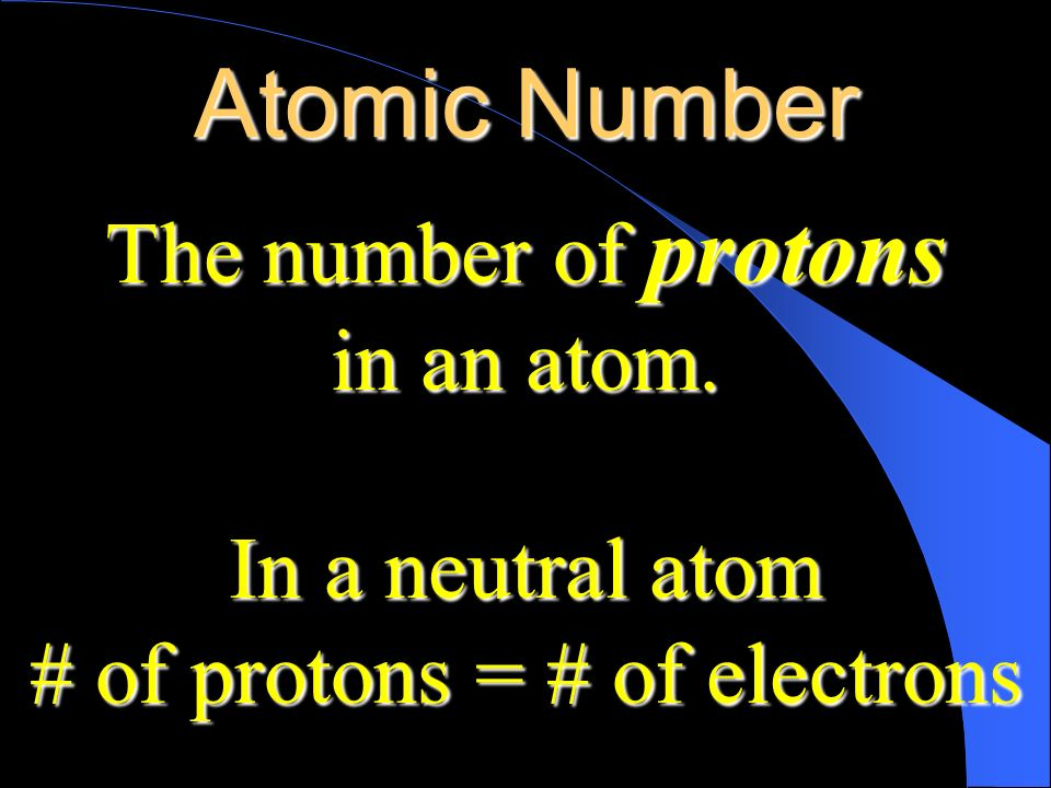 # of protons = # of electrons