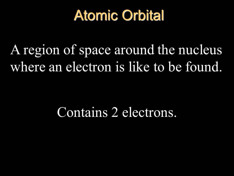 Atomic Orbital A region of space around the nucleus where an electron is like to be found.