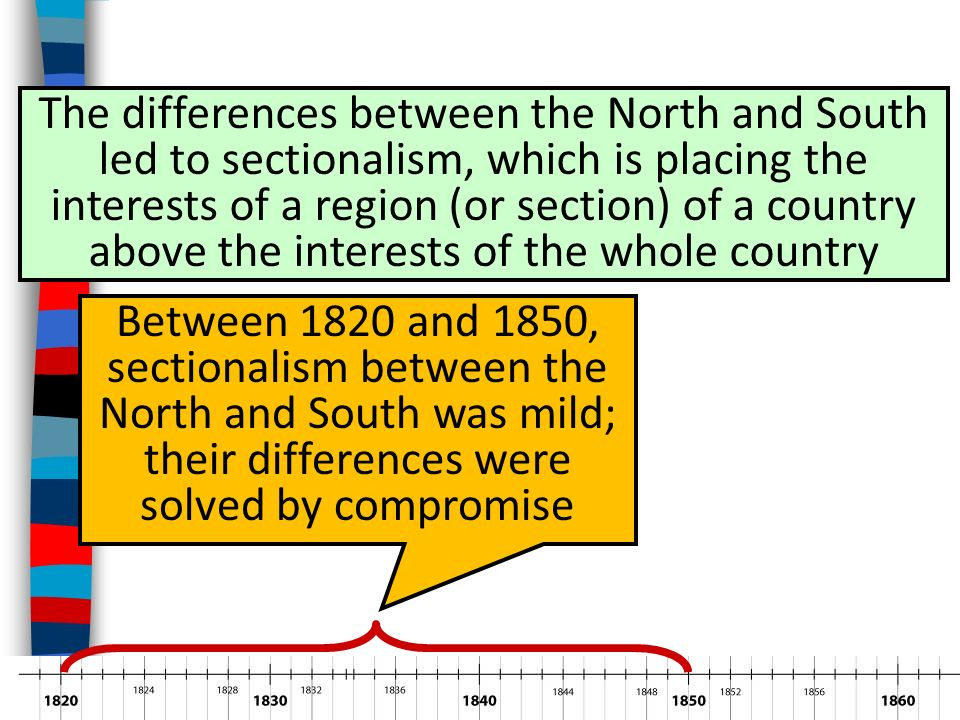 differences between north and south 1800 to 1850 What are the similarities and differences between the religious society of  and  prohibited slavery north of the southern boundary of missouri, extending   slavery and the territories: the compromise of 1850 and the fugitive slave  law  of us residents from transporting slaves to foreign countries and the  1800 law.