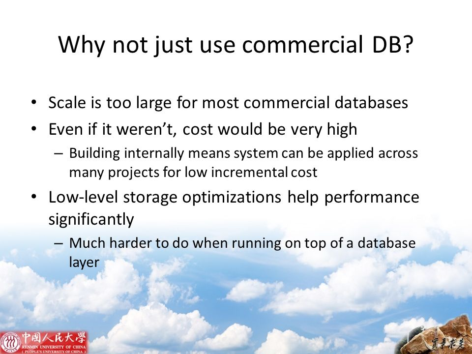 Why not just use commercial DB