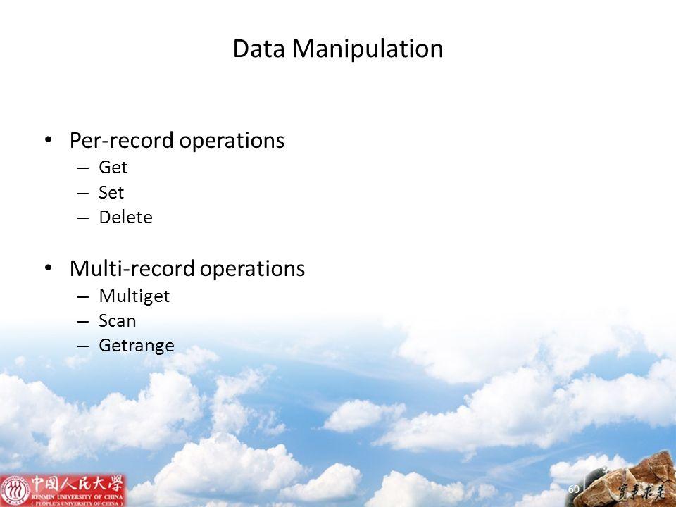 Data Manipulation Per-record operations Multi-record operations Get