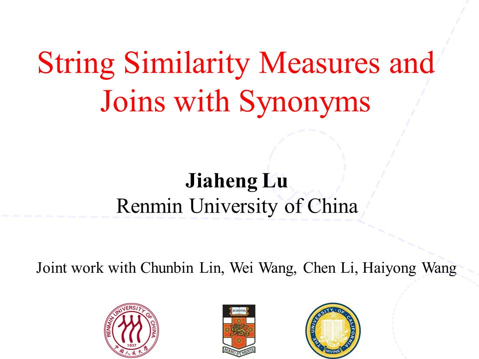 String Similarity Measures And Joins With Synonyms Ppt Video