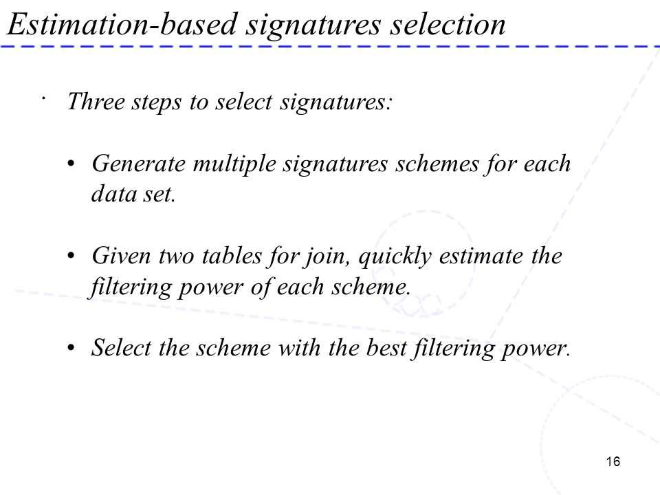 Estimation-based signatures selection