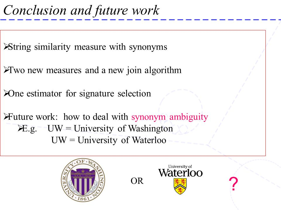 ? Conclusion and future work String similarity measure with synonyms