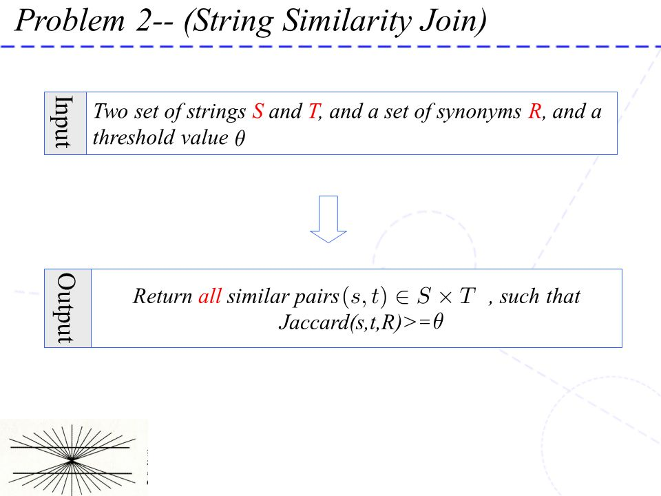 Return all similar pairs , such that Jaccard(s,t,R)>=