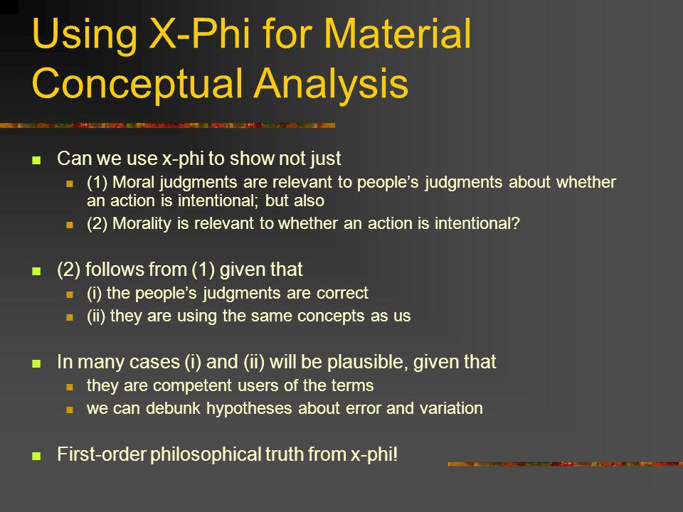 Using X-Phi for Material Conceptual Analysis