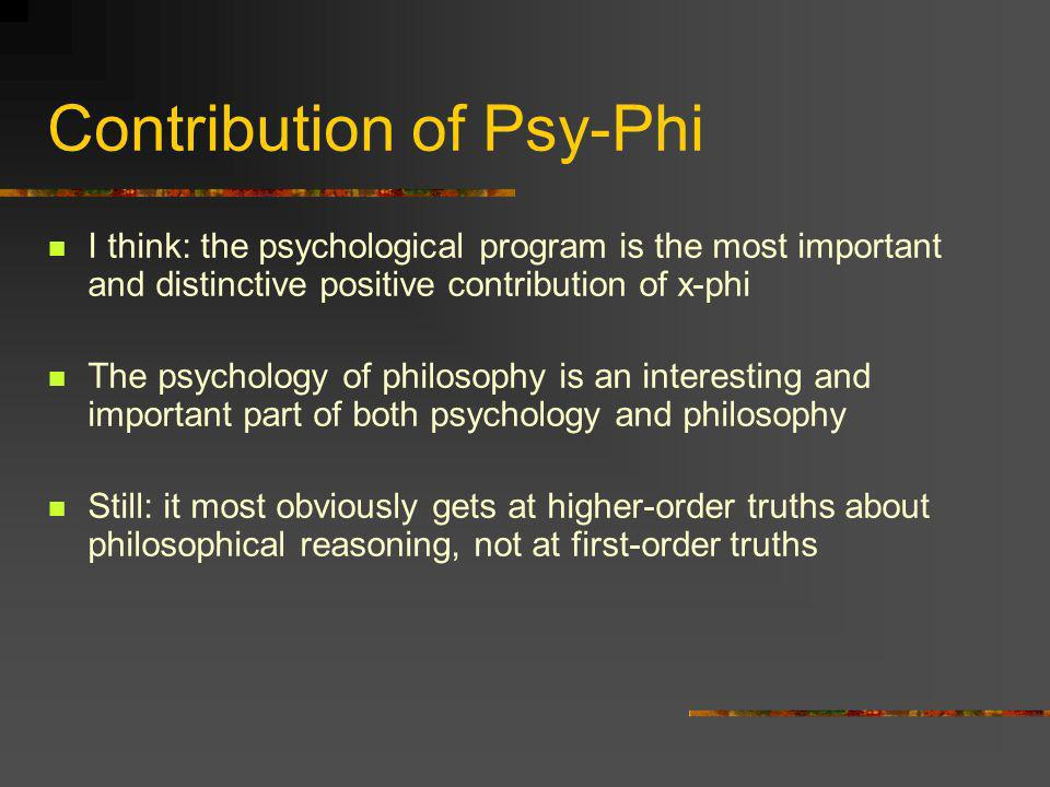 Contribution of Psy-Phi