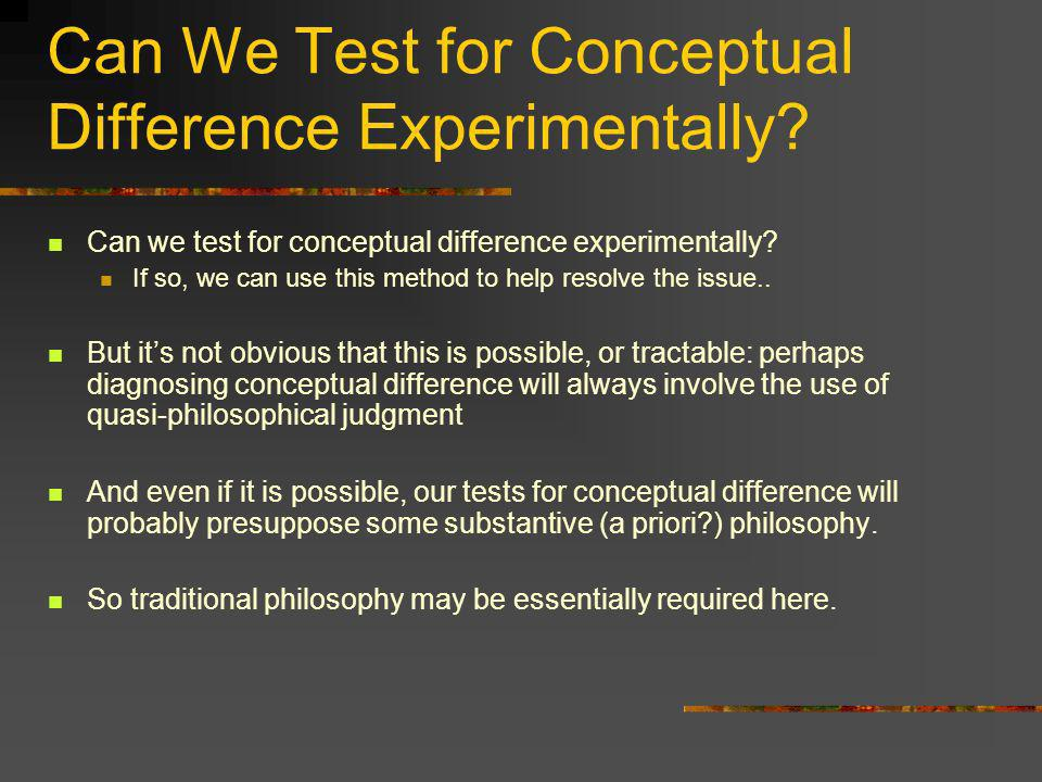 Can We Test for Conceptual Difference Experimentally