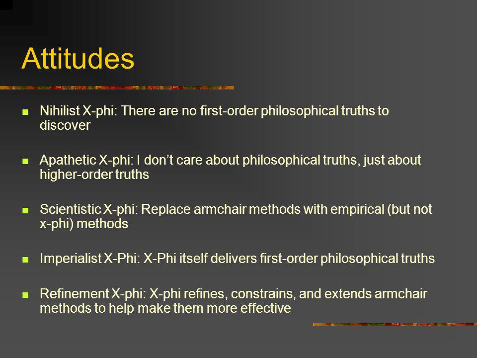 Attitudes Nihilist X-phi: There are no first-order philosophical truths to discover.