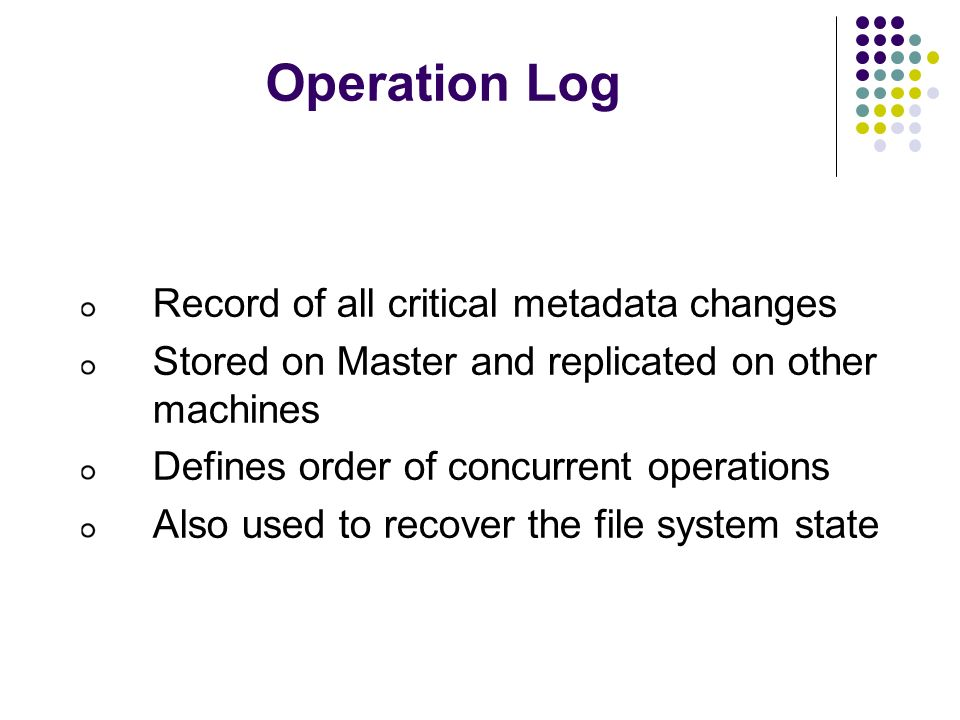 Operation Log Record of all critical metadata changes